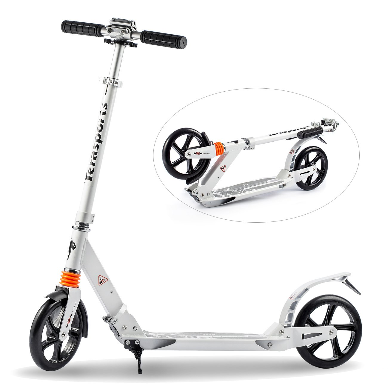 Tera Foldable Scooter City Plearsurable Bike 2-Wheel Roller 20cm Wheel-Diameter with Maximum Load 100kg Height Adjustable for Children Adult White Color