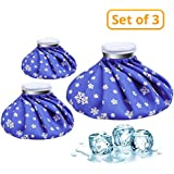 """CAMMATE Ice Bag, 3 Pack[6"""", 9"""" &11"""" ] Hot And Cold Reusable Ice Bag,Relief Heat Pack Sports Injury Reusable First Aid for Knee Head Leg(Deep Blue Snowflake)"""