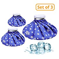 "CAMMATE Ice Bag, 3 Pack[6"", 9"" &11"" ] Hot And Cold Reusable Ice Bag,Relief Heat Pack Sports Injury Reusable First Aid for Knee Head Leg(Deep Blue Snowflake)"