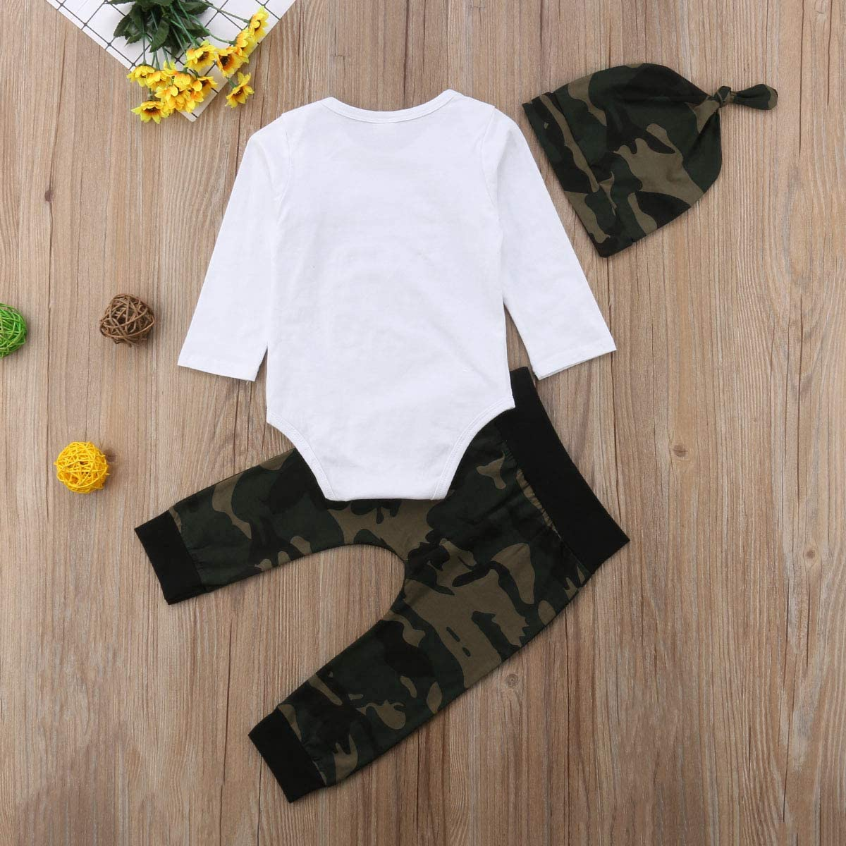 bebiullo 3PCS Newborn Baby Letter Print Romper Jumpsuit Army Green Pants Hat Clothing Outfits Set
