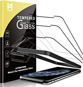 HATOSHI (3 Pack) Screen Protector for iPhone 11 Pro Max and iPhone XS Max Tempered Glass - Alignment Tray Easy Installation [Case Friendly] HD Clarity 9H Glass Screen Protector (6.5'')