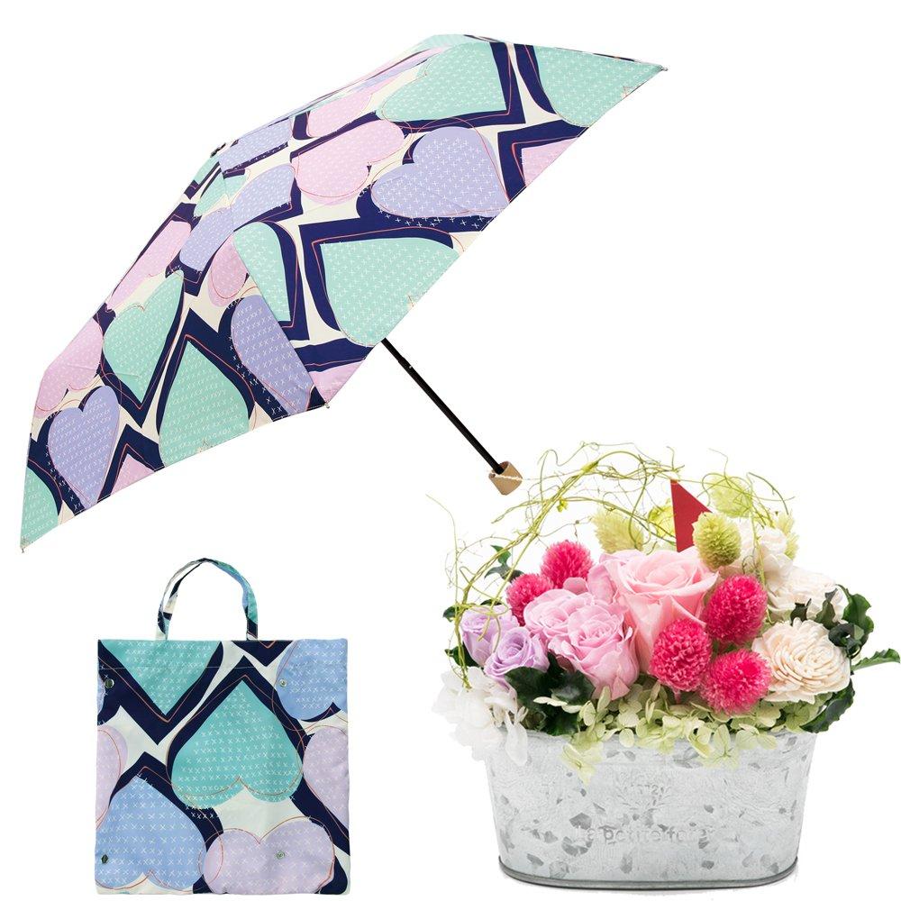 母の日ギフト プリザーブドフラワーと折り畳み傘のギフトセット B07CJ3R2NC お花:Lサイズ|ハートステッチ/クロ ハートステッチ/クロ お花:Lサイズ