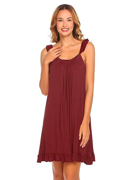 13ae8b0447 Etuoji Womens Sleeveless Nightdress Ruffles Square Neck Nightgown Loose  Sleepwear Dress at Amazon Women's Clothing store: