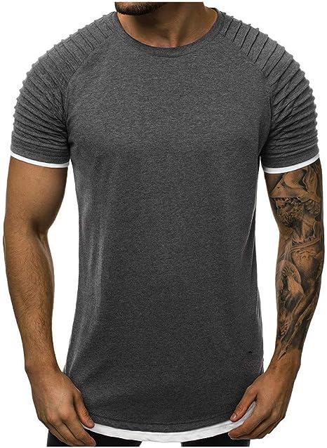 SMILEQ Camiseta de los Hombres Falso Dos Piezas Pliegues patrón Degradado Camiseta sin Mangas Ocasional Chaleco de Manga Corta Blusa: Amazon.es: Deportes y aire libre