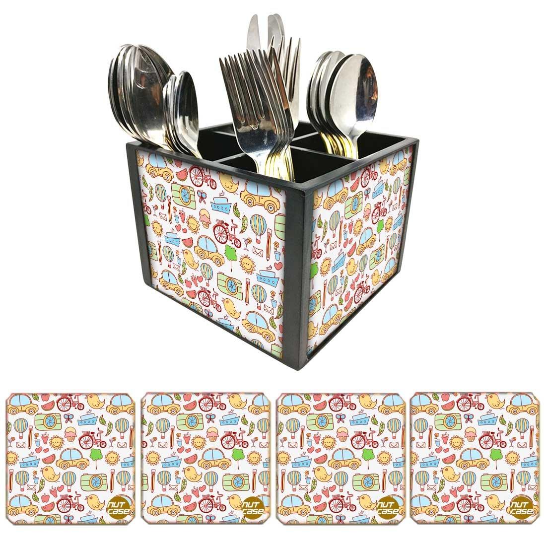 Nutcase Designer FlatwareカトラリースタンドホルダーSilverware caddy-spoonsフォークナイフOrganizer with Matchingメタルコースター – Doodle Art   B07DC817GH