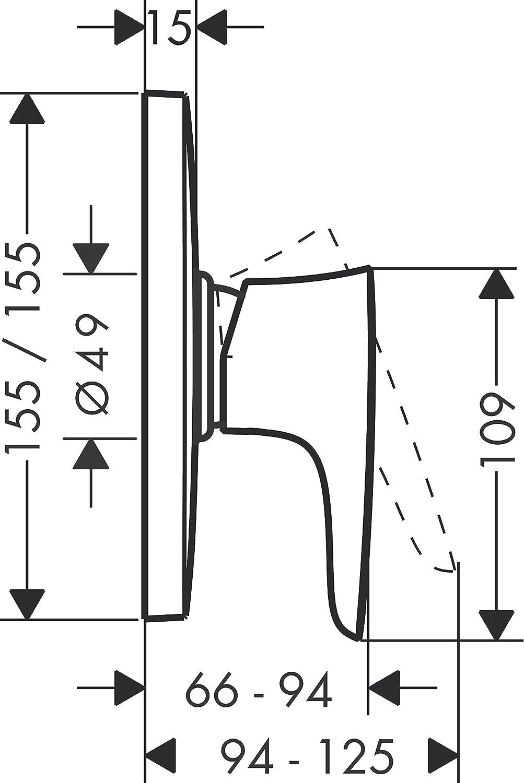 cromo Hansgrohe 15677000 PuraVida grifo de ducha de gran caudal empotrado