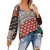 Womens Chiffon Blouse,LuluZanm Sales! Ladies Floral Printed Half Sleeve Shirts V Neck Ruched Knot Fashion Tops