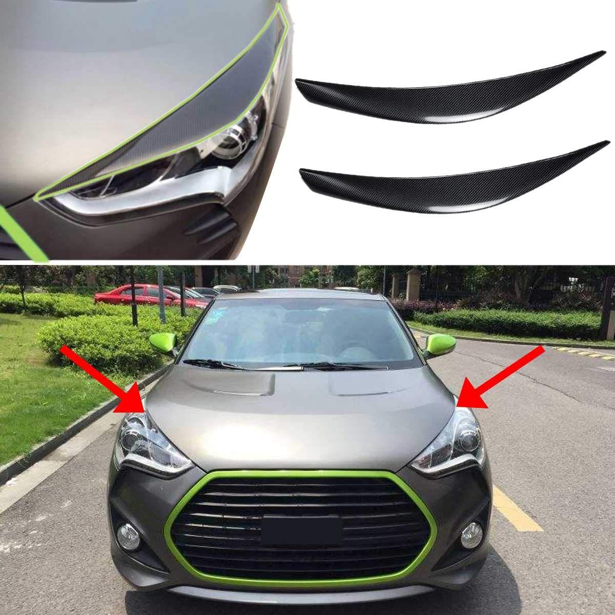TOOGOO 2Pcs Carbon Fiber Car Headlight Cover Eyebrows Car Head Light Cover Sticker Frame Protector for Veloster 2011-2016