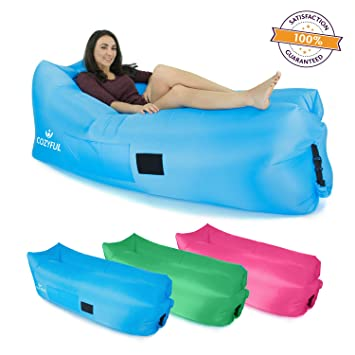 Indoor Or Outdoor Inflatable Air Lounger | Portable Airbag Chair U0026  Waterproof Comfy Bag | Sturdy