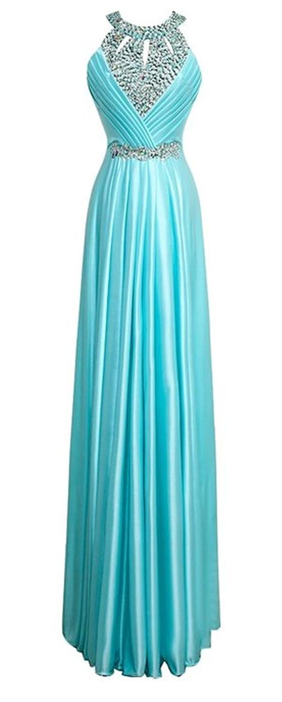 HelloGirls O Neck Beads Long Maxi Gown Evening Prom Dress