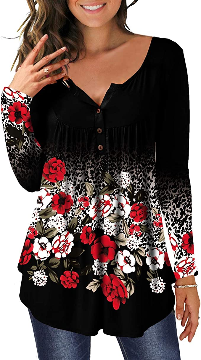MAYAMANG Womens Floral Tunic Tops Casual Blouse V Neck Short Sleeve Buttons Up T-Shirts