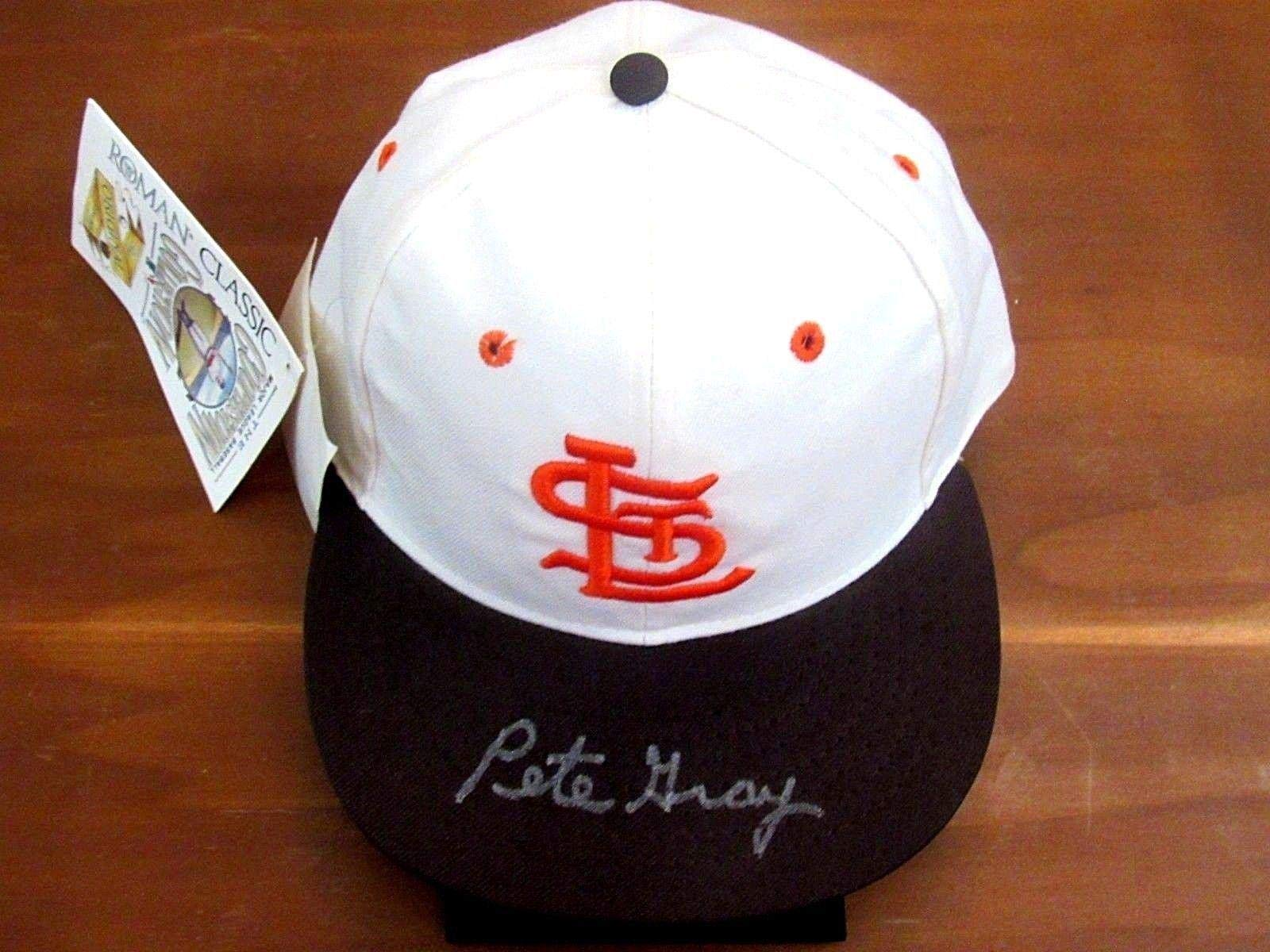 Pete Gray St. Louis Browns First One Armed Player Signed Auto Vtg Roman Cap JSA Certified Autographed Hats