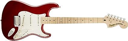Squier por Fender Standard Stratocaster Guitarra eléctrica – Candy Apple rojo – arce diapasón