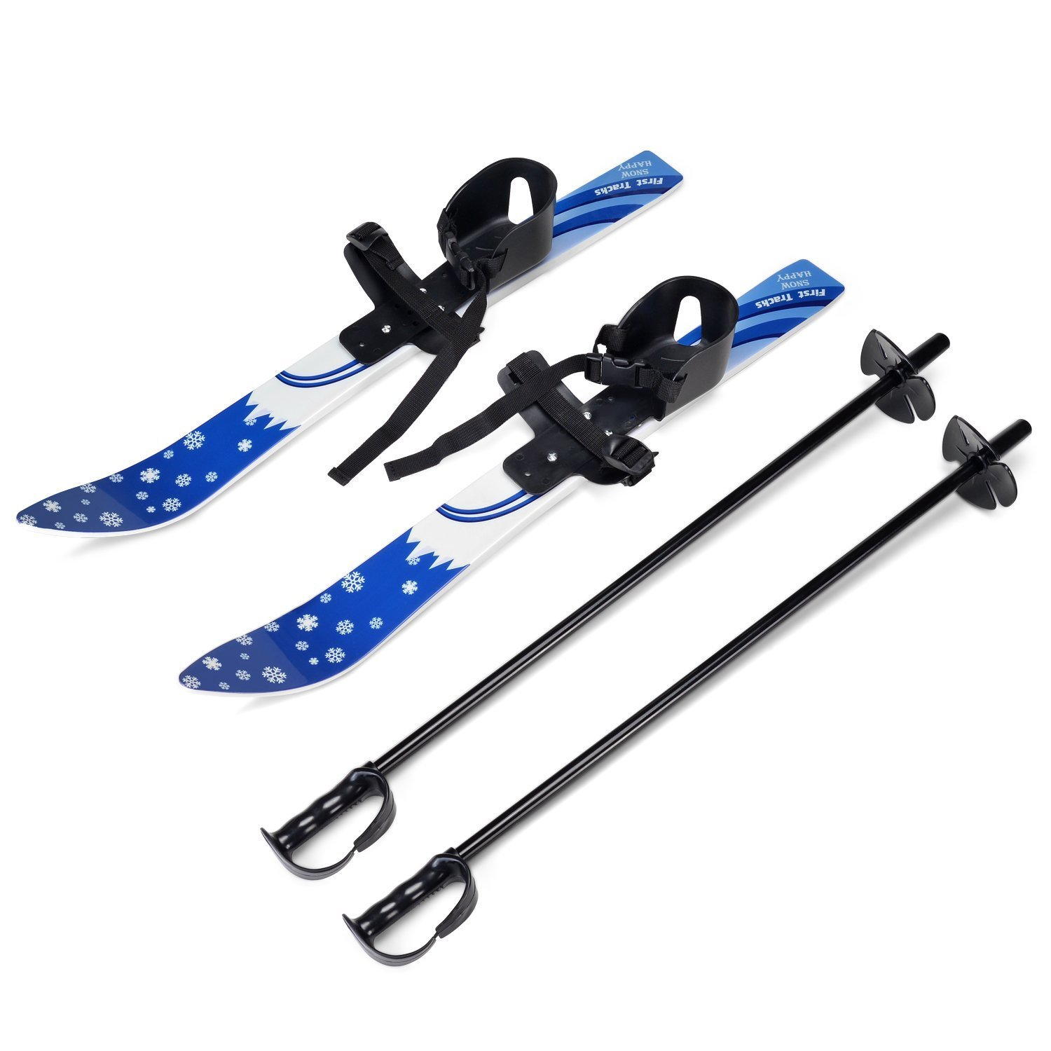 Odoland Kid's Beginner Snow Skis and Poles, Low-Resistant Ski Boards for Age 4 and Under, Snowflake by Odoland
