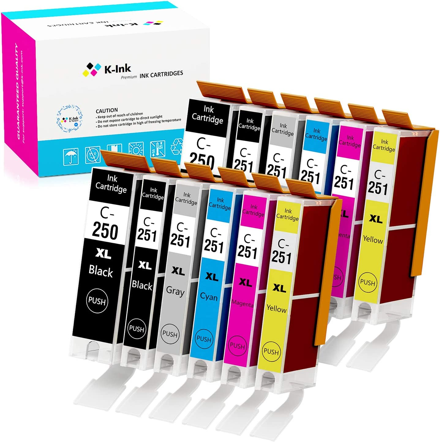K-Ink Compatible Ink Cartridge Replacement for Canon PGI-250 CLI-251 PGI 250 CLI 251 XL (12 Pack - 2 Large Black, 2 Small Black, 2 Cyan, 2 Yellow, 2 Magenta, 2 Gray)