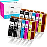 K-Ink Compatible Ink Cartridge Replacement for Canon PGI-250 CLI-251 PGI 250 CLI 251 XL (12 Pack - 2 Large Black, 2…