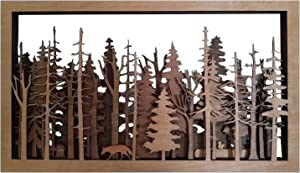 Wooden Wall Art Decor - 12''x 8'' The Wide Woods Mysterious Hanging Forest Scene Intricate Rectangle Wood Carved Plaque Sign Decoration for Home Living Room Bedroom Cafe Gallery Office Decor (BR)