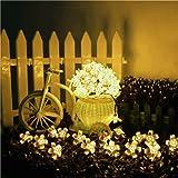 TOPLIFE イルミネーション ソーラー 充電式 ガーデンライト サクラ LED ライト 50灯 7m 8種類の点滅パターン ストリングライト 屋外 防雨 正月 クリスマス 結婚式 パーティ 飾り (ウォームホワイト) (ウォームホワイト)