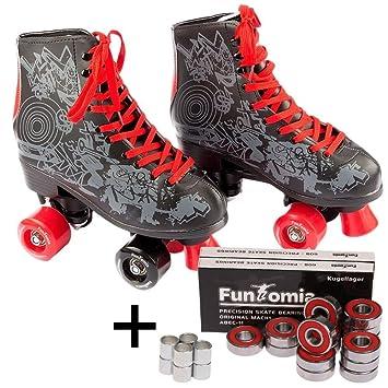 FunTomia Retro quad patines Disco con 4 ruedas - en diferentes tamaños 30-42 - incluyendo 16x rodamiento Mach1 Abec-11: Amazon.es: Deportes y aire libre