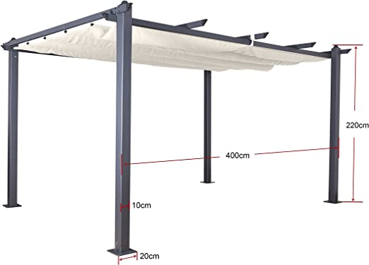 Jet-Line Carpa Pergola überdachtung Luxor Aluminio Color marrón y ...