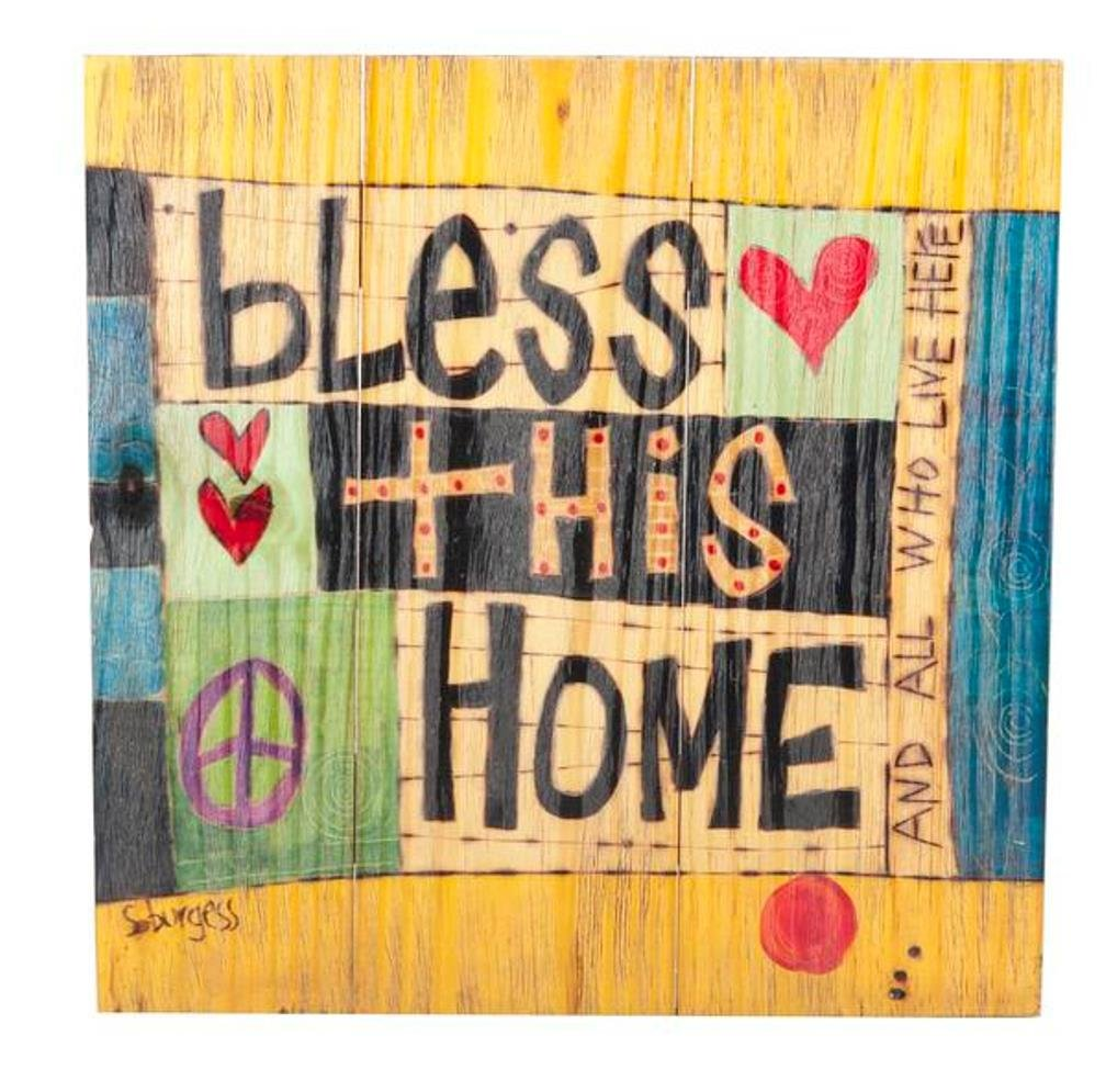 Amazon.com: Bless This Home Painted Peace Wooden Plank Wall Plaque ...