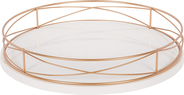 "Kate and Laurel Mendel Round Tray with Decorative Metal Rim 14"" Diameter White"