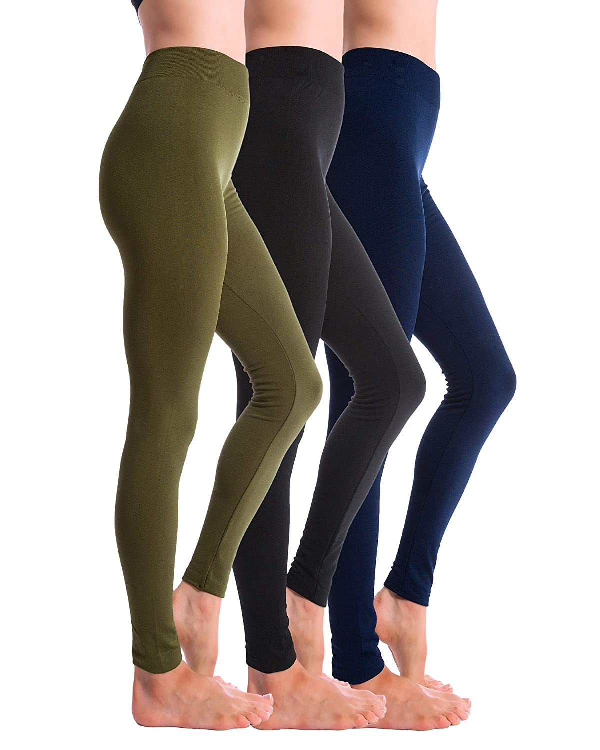 Black Navy Olive Homma 3Pack Fleece Lined Thick Brushed Leggings Thights