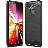 PUBAMALL Funda Compatible con Huawei mate 20 lite / Huawei Maimang 7 , Funda de silicona suave a prueba de golpes con cubierta de protección de diseño de fibra de carbono para Huawei Maimang 7 / Mate 20 Lite (Negro)