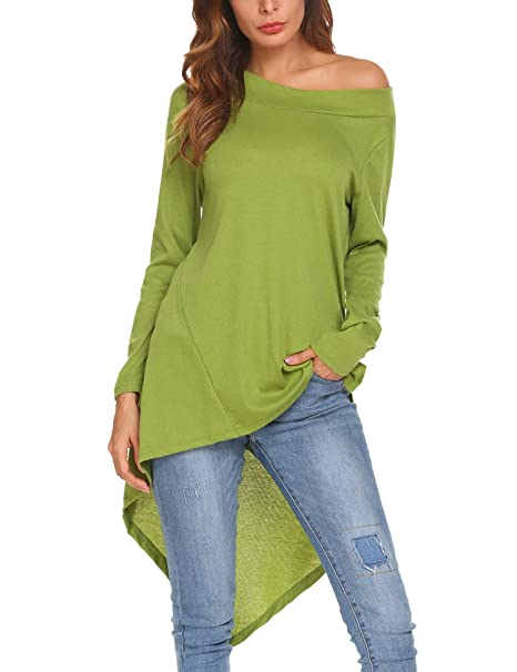 6ff2fe14098d Thinkwell Women Casual Long Sleeve Solid Asymmetrical Side Slit T Shirt  Basic Loose Tee