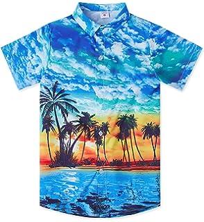 Hawaiian Shirt Size S M L Youth Big Kids Button Down Black Clear Blue Sky Beach