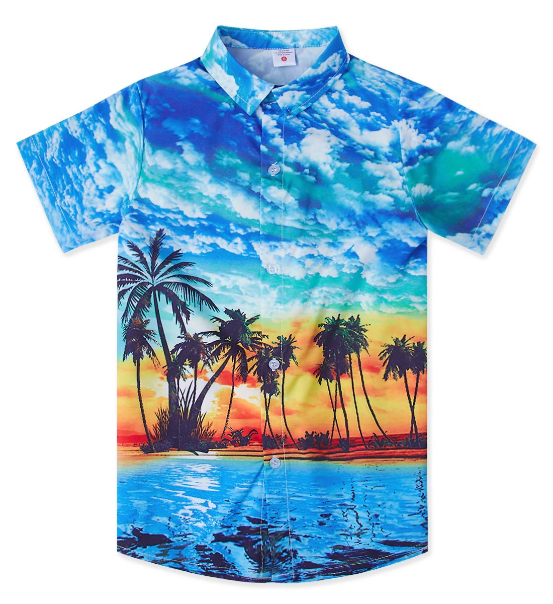 Coconut Palm Dress Shirts for 13th 14th 15th Years Old Juniors Boy 3D Printed Cool Blue Green Short Sleeves Button Down Hawaii Luau Tops Blouse Teen Bro Beach School Casual Party Athletic Tee Shirt