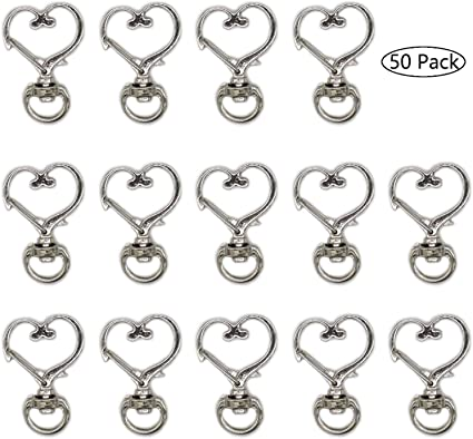 Silver HAN SHENG 50 Pcs Metal Heart Design Spring Snap Keychain Clip Creative Hanging Buckle Key Ring DIY Key Chains Accessories
