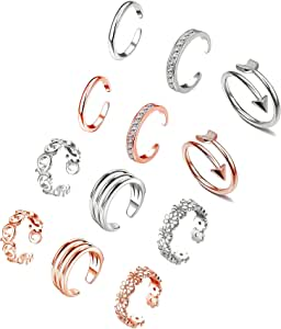 XINBOO Open Toe Rings Set for Women Girls Adjustable Rose Gold Silver Cute Knuckle Tail Rings 6//12PCS Hypoallergenic Finger Foot Jewelry