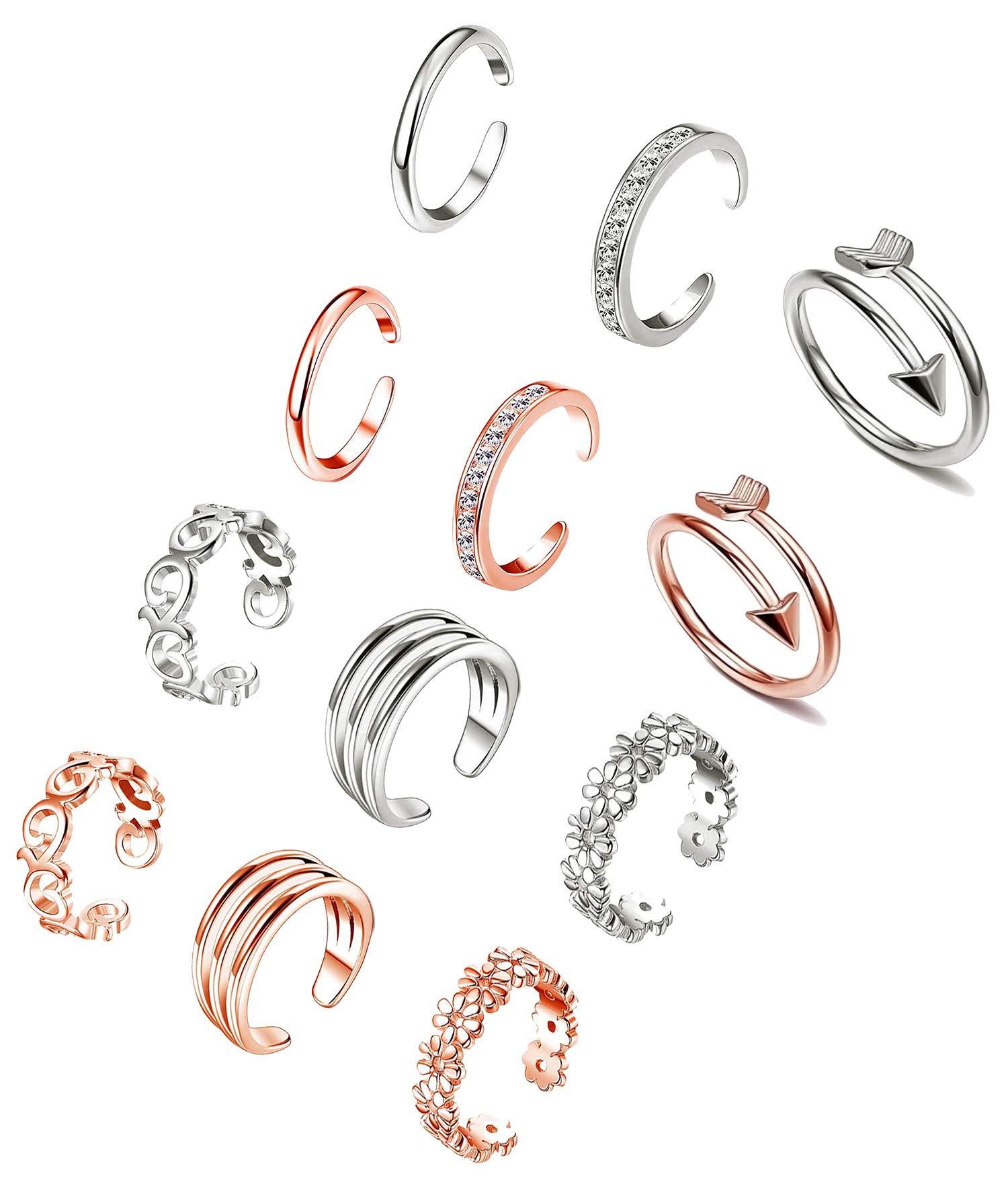 XINBOO Open Toe Rings Set for Women Girls Adjustable Rose Gold Silver Cute Knuckle Pinky Rings 6/12PCS Hypoallergenic Finger Foot Jewelry