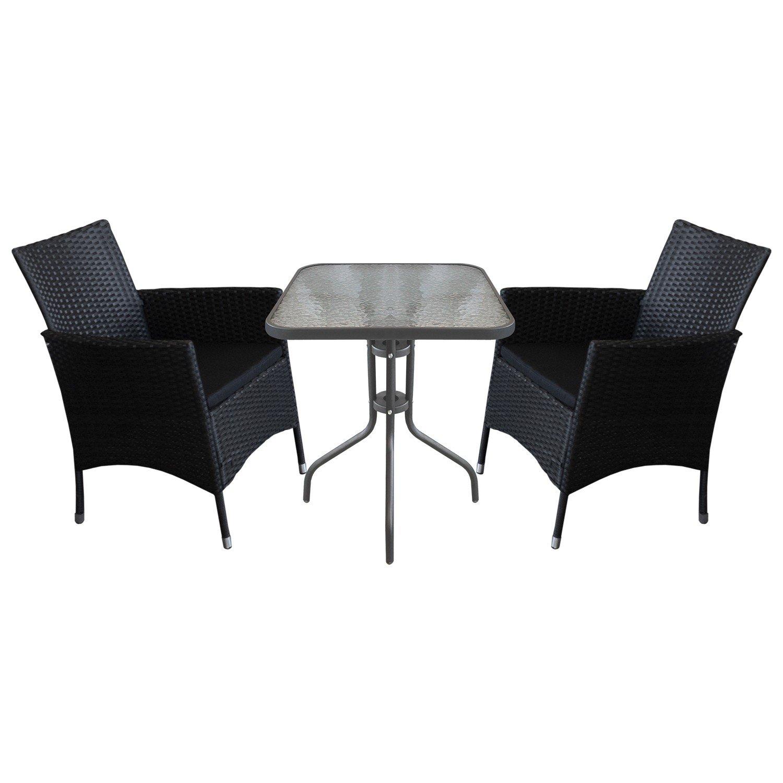 3tlg sitzgarnitur bistro balkonm bel set gartentisch 60x60cm geriffelte tischglasplatte. Black Bedroom Furniture Sets. Home Design Ideas