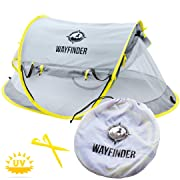 Wayfinder TravelTot, Baby Travel Tent Portable Baby Travel Bed Indoor & Outdoor Travel Crib Baby Beach Tent UPF 50+ UV Protection w/Mosquito Net and 2 Pegs