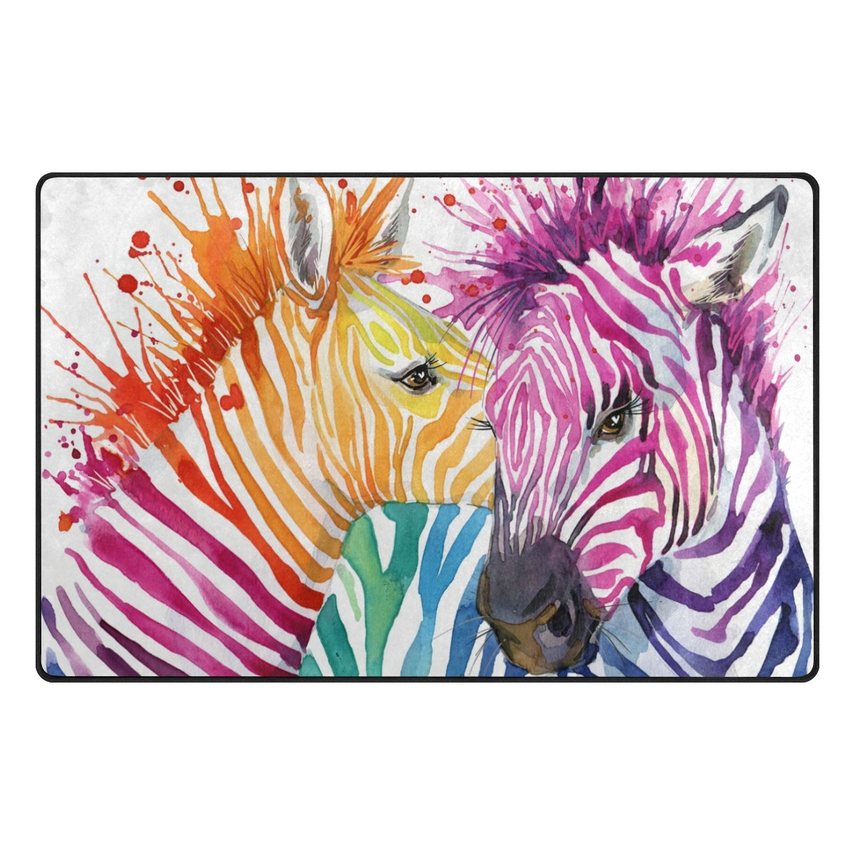 INGBAGS Super Soft Modern Zebra Love Watercolor Area Rugs Living Room Carpet Bedroom Rug for Children Play Solid Home Decorator Floor Rug and Carpets 60 x 39 Inch