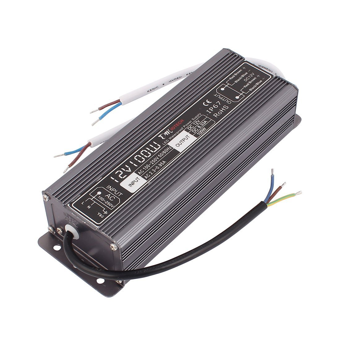 sourcingmap® AC100-250V a DC12V 100W Transformer IP67 Impermeable LED Conductor Potencia suministro