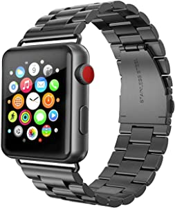 UCOFFEE Compatible Apple Watch Band, iWatch Band, Solid Stainless Steel Metal Apple Watch Strap iWatch Watchband with Durable Folding Clasp for Apple Watch Series 1/2/3/4 (Black, 38mm/40mm)