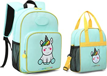 Mommore Cute Unicorn Kids Backpack with Insulated Lunch Bag
