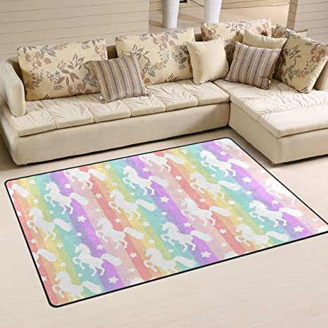 Yochoice Non Slip Area Rugs Home Decor, Colorful Rainbow Unicorns Floor Mat  Living Room