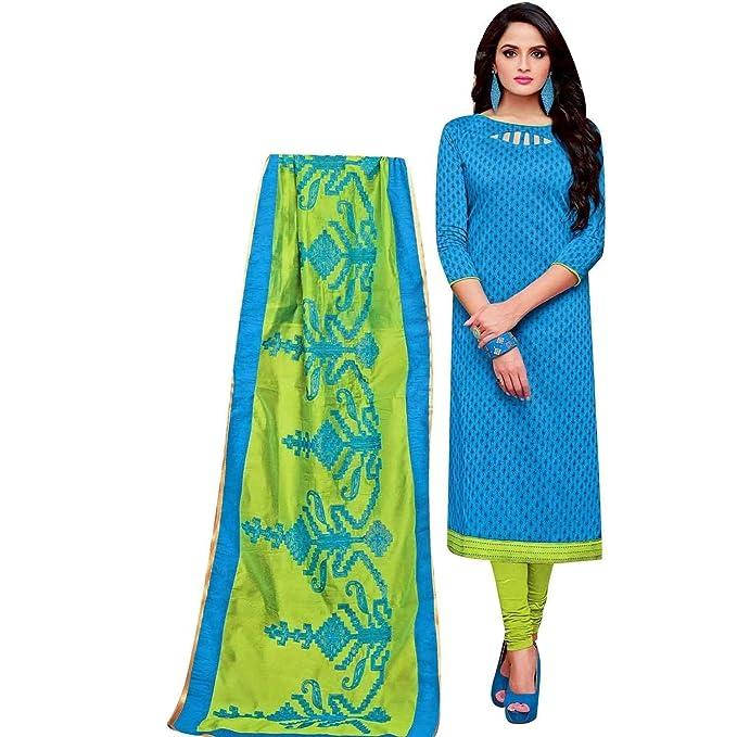 Amazon.com: Ladyline - Traje de seda con bordado Dupatta ...