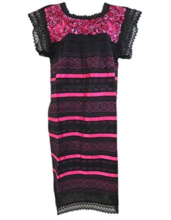 Mexican Dress on Loom One Size Vestido Telar (Black - Hot Pink)