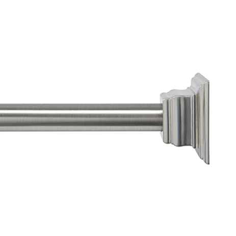 Great Kenney Claire Tension Shower Curtain Rod, Brushed Nickel