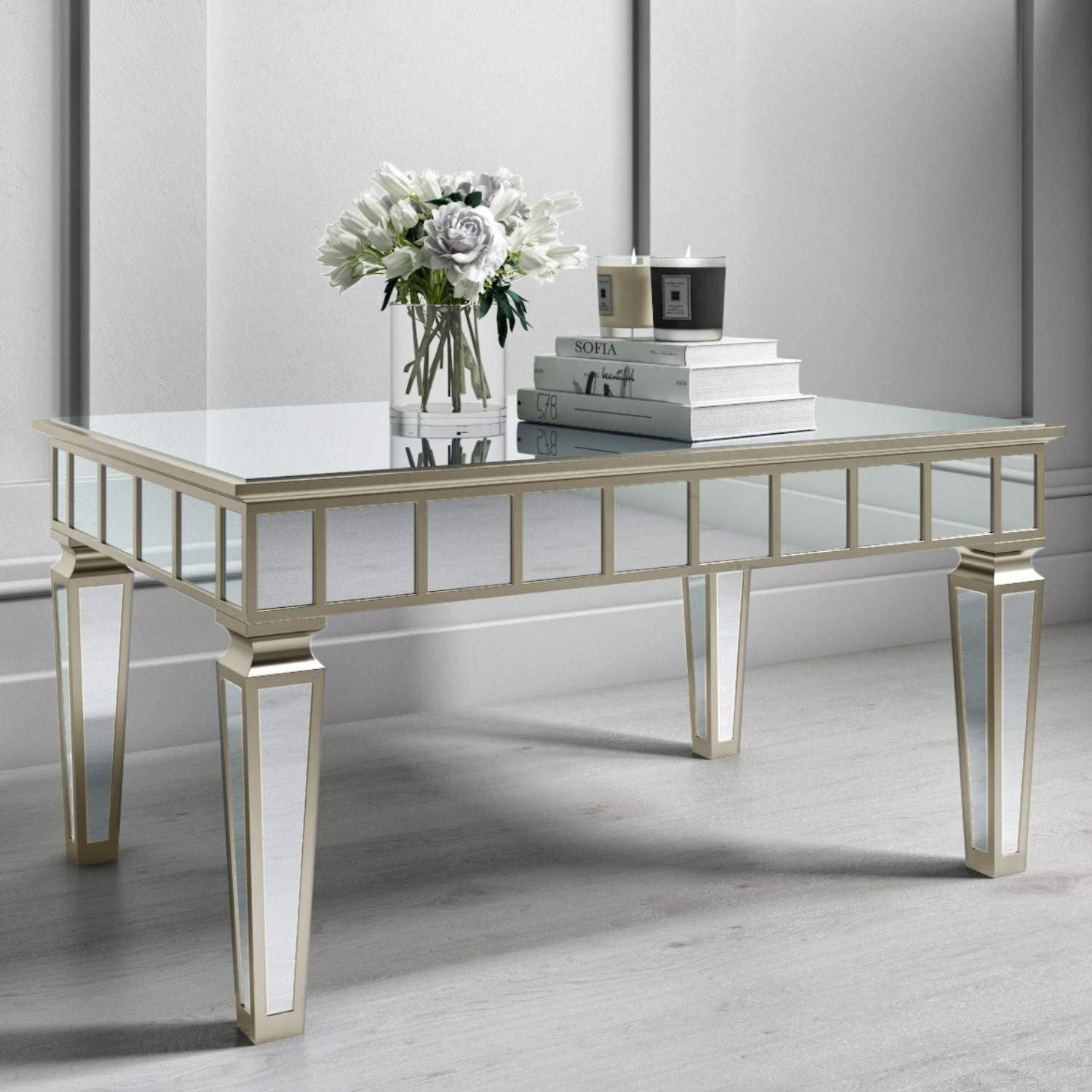 Jade Boutique Mirrored Coffee Table With Gold Detailing Amazon Co Uk Kitchen Home