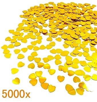 JZK 5000 pcs 1cm plástico especular corazón Amor Dorado Confeti Boda Mesa Comedor Confeti dispersar Decoraciones Mesa para Boda cumpleaños día San ...