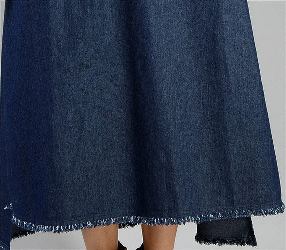 YESNO JP0 Women Loose Denim Shift Dress Embroidery Lace Patchwork Side Split Fringed Hi-Low Hem//Side Pocket