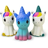 "Super Slow Rising Squishies Pack. Squishy Unicorns 4.8"" Set of 3. Soft Scented Cute Kawaii, Colorful Animal Stress Relief Toy for Kids and Adults. Amazing Squeeze Toys"