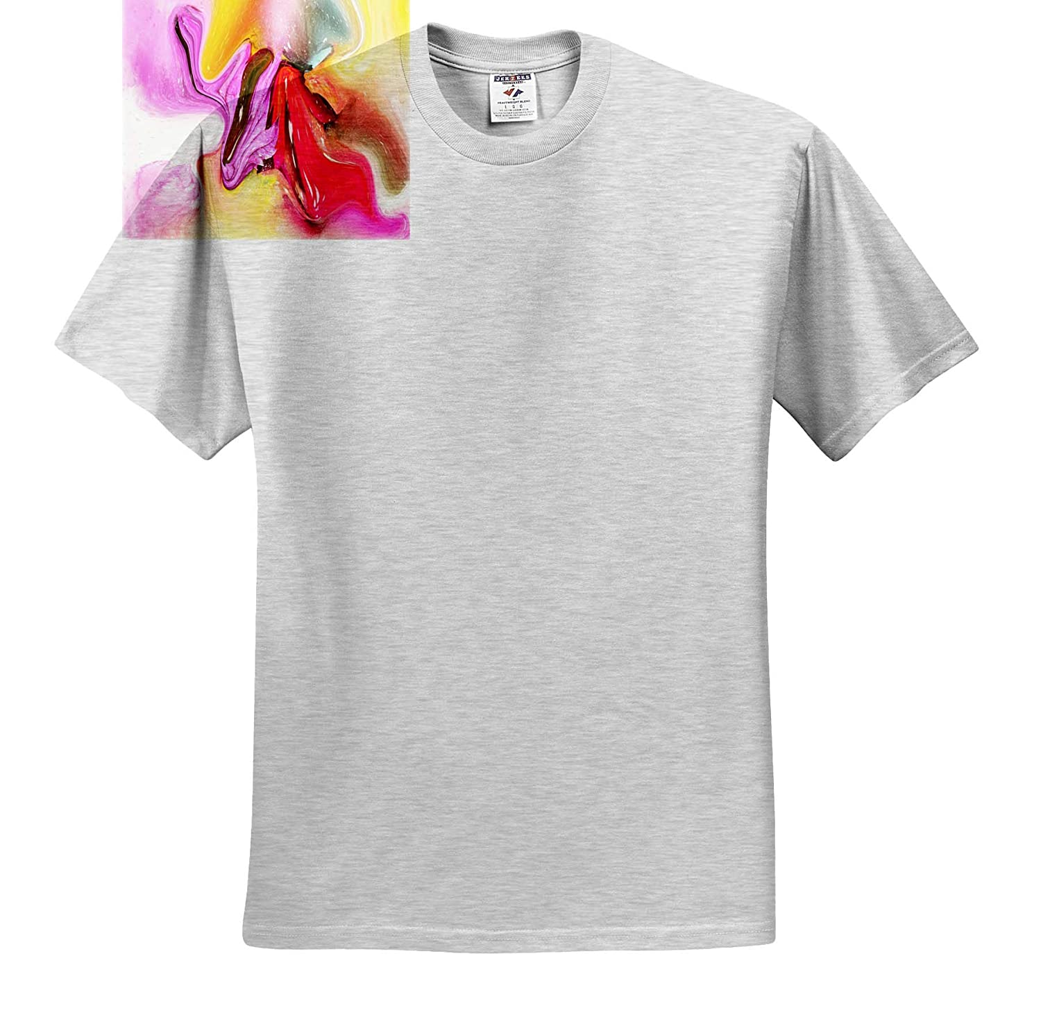 3dRose Lens Art by Florene Digital Painting T-Shirts Image of in Your Face Pink and Yellow Digital Painting