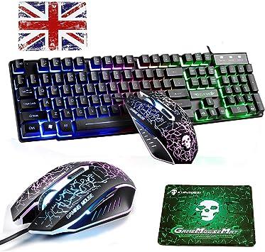 UK - Teclado y ratón con cable y retroiluminación arcoíris T6 con USB, teclado ergonómico + 6 botones de 2400 DPI Rainbow LED USB Mouse para juegos + ...